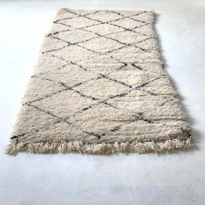 Beni Ourain tæppe løber hvid sort 240 x 90 cm