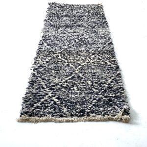 Beni Ourain løber sort tæppe løber 310 x 80 cm