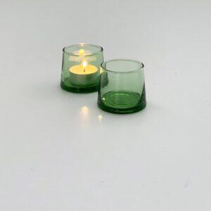 mundblæst glas som fyrfadsstage til fyrfadslys