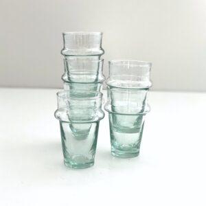 mundblæst glas i genbrugsglas til the 6 stk