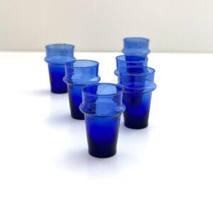mundblæste glas blå genbrugs recycled glas