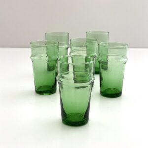 mundblæste glas i genbrugsglas grønt