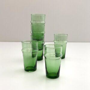 grønne mundblæste glas