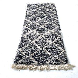 Beni Ourain tæppe løber i sort uld med hvide tern 295 x 70 cm