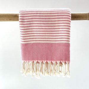 Håndvævet håndklæde øko bomuld pink