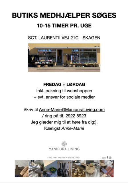 butiks medhjælper søges i Skagen