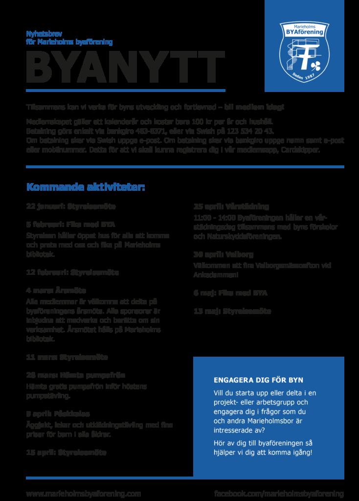 BYAnytt - Marieholms byaförenings nyhetsblad med kommande aktiviteter och information om hur du blir medlem.