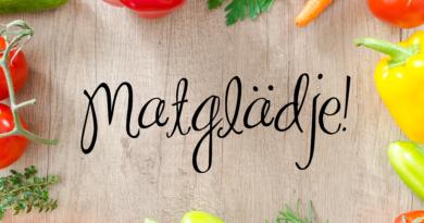 Bild på grönsaker och texten Matglädje