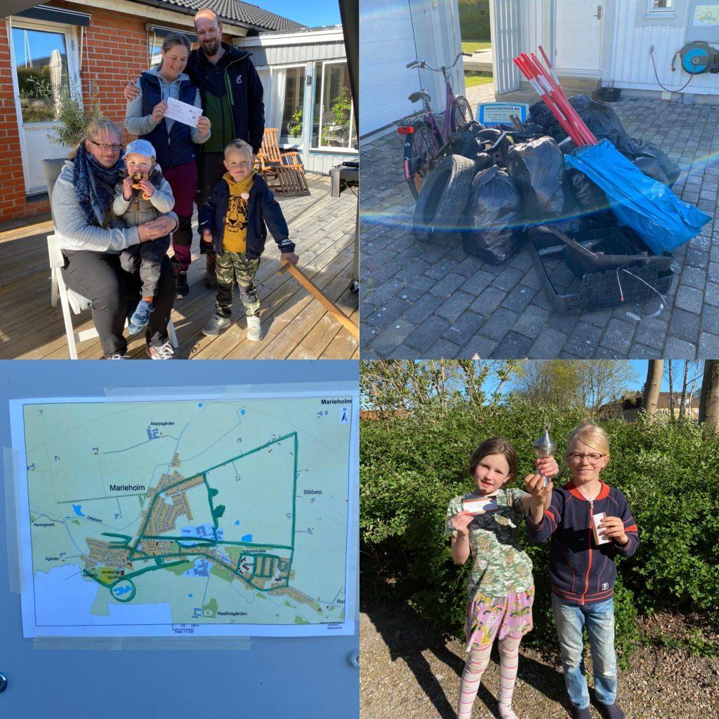 Fyra bilder från lördagens skräpplockardag. En på vinnarna av de vuxnas tävling, en på vinnarna av barnens tävling, en på kartan över de områden vi plockat skräp på samt en på högen av skräp som samlats ihop.