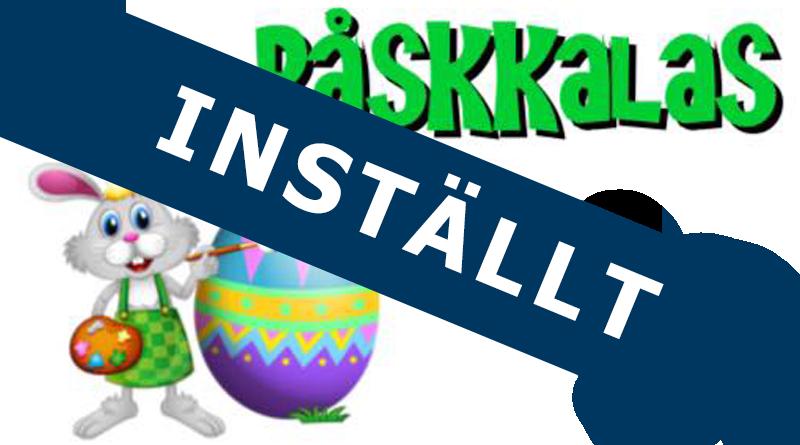 """Bild på hare med ägg och texten påskkalas samt en stor text över: """"INSTÄLLT"""""""