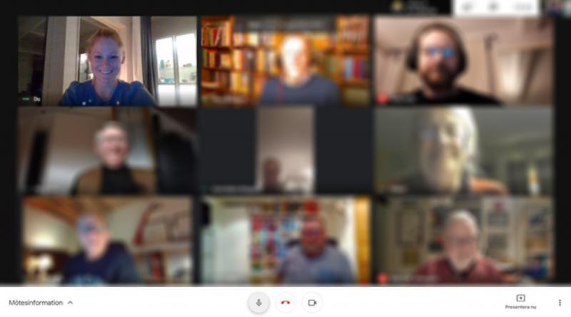 Skärmbild från zoom-mötet med EBR där alla deltagare syns på skärmen. Alla deltagare utom vår ordförande är suddiga.