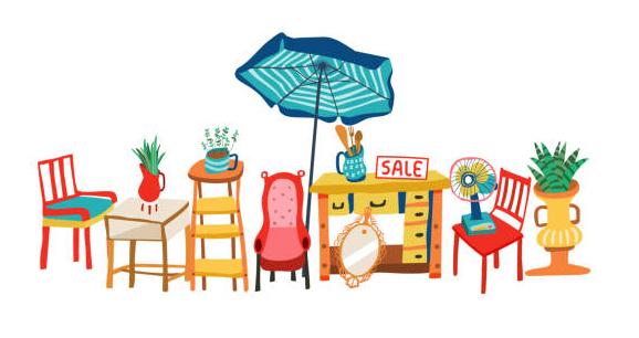 Illustrerad bild på loppisprylar