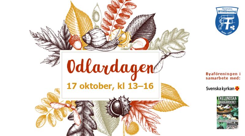 """Illustration med löv i höstfärget och texten """"Odlardagen 17 oktober"""""""