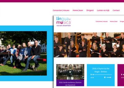 Lingua eMusica logo, huisstijl en website