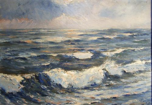 zee aanstormende golvenBij Noordwijk / Katwijk