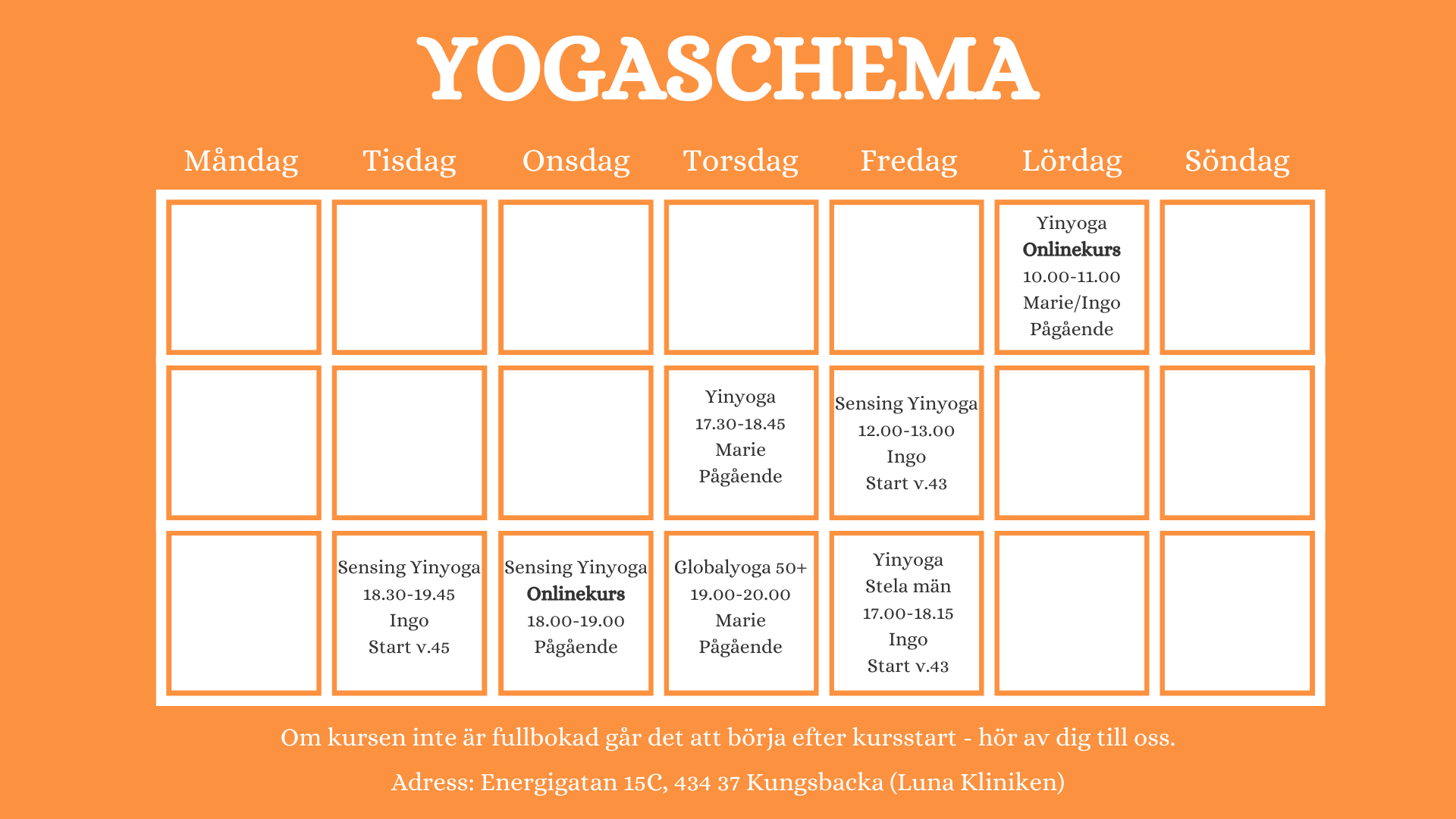 yogakurs kungsbacka yogaschema