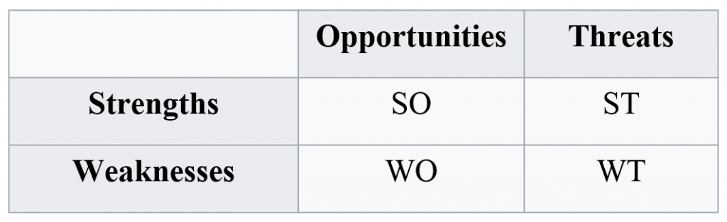 Possible combinations of the SWOT model