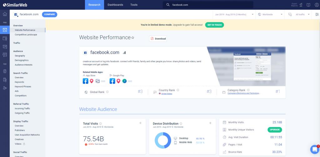 SimilarWeb Dashboard