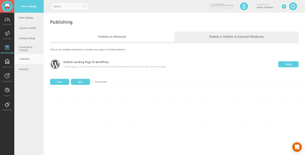 Moosend Landing Page Publishing Setting