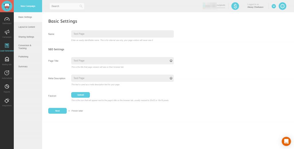 Landing Page Setting