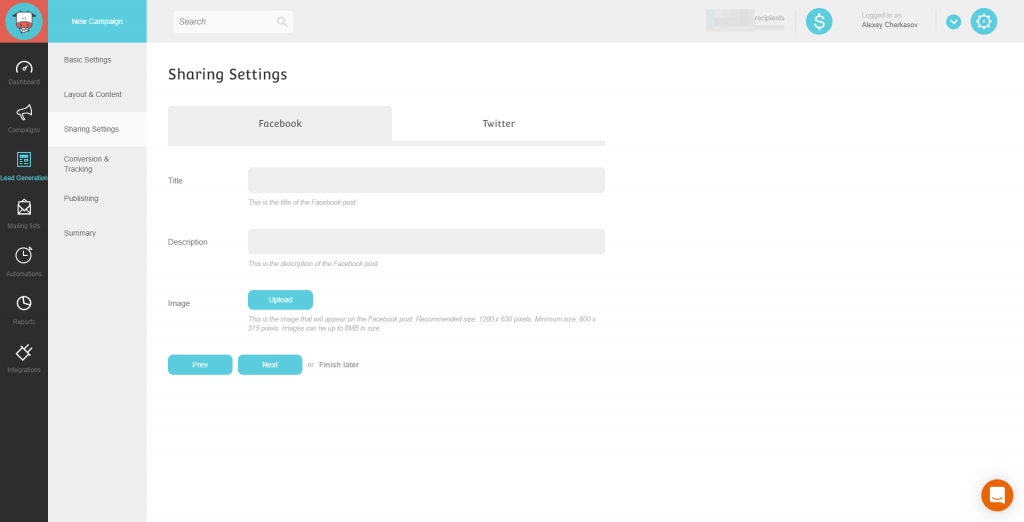 Landing Page Sharing Setting