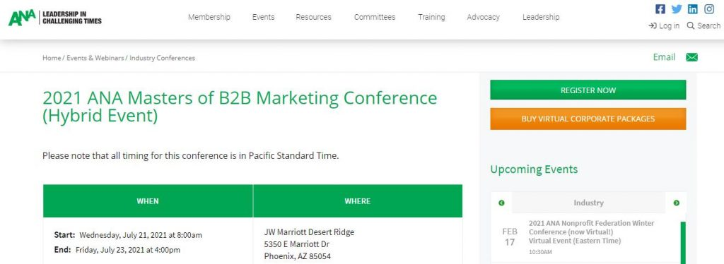 2021 ANA Masters of B2B Marketing Conference