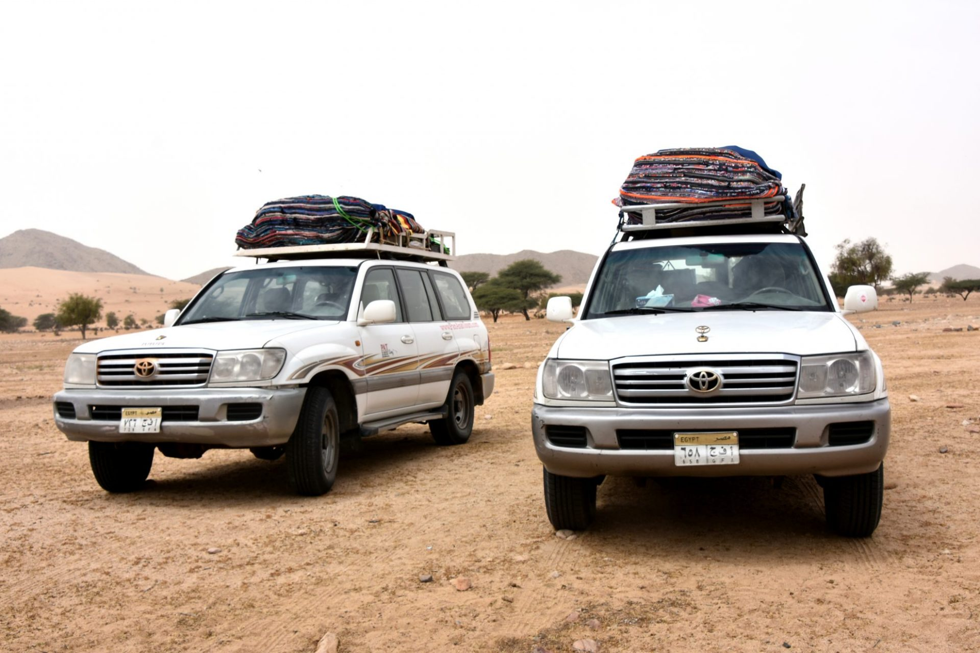 Jeeps parked in the Eastern Desert of Marsa Alam Egypt