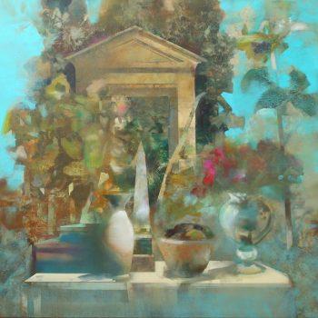 'Stilleven in de klassieke tuin' - 100x100cm - acrylverf op doek- VERKOCHT -