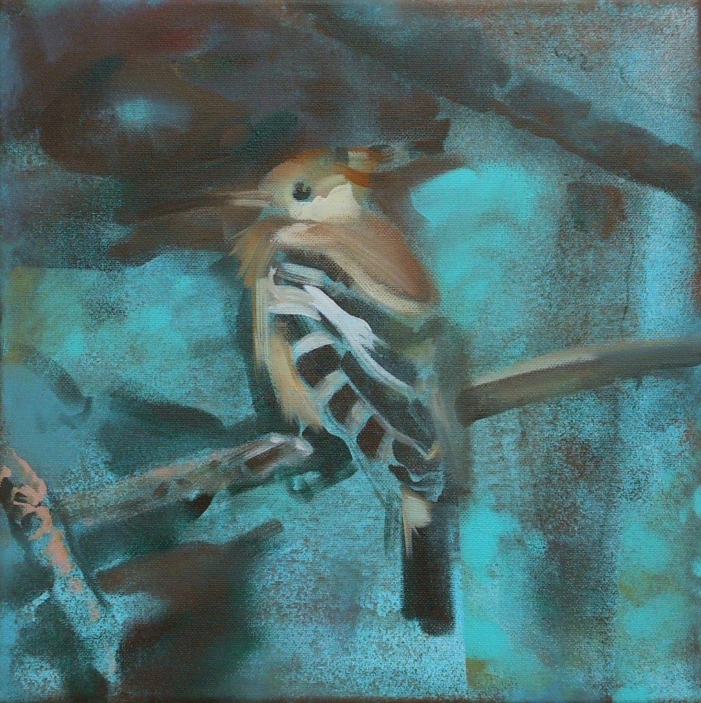 'Hoopoe' 30x30 cm acrylics on canvas SOLD