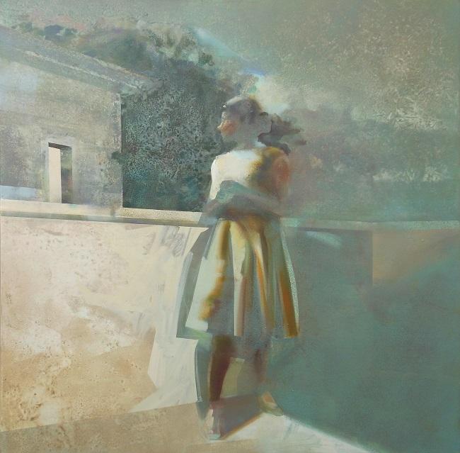 'Light on the other side' - 120x120cm - acrylverf op doek' - VERKOCHT