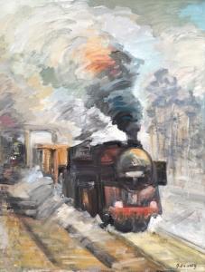 Mary Habsch - peintre - locomotive - huile sur toile