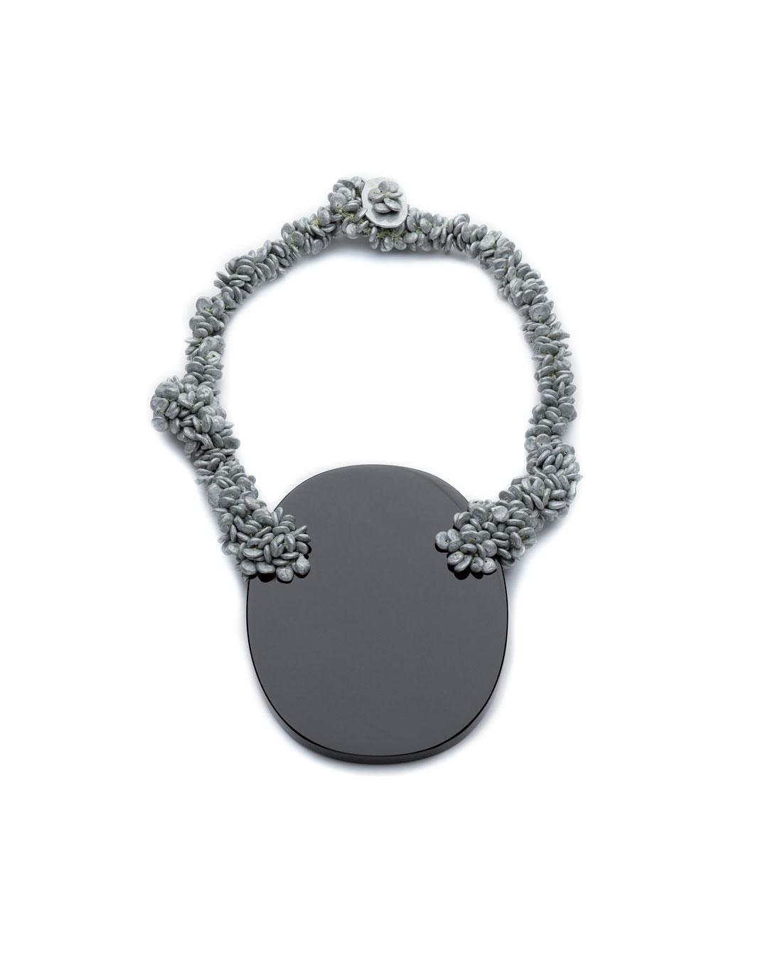 Iris Bodemer, untitled, 2008, necklace; obsidian, zinc, fishing wire, 260 x 170 x 25 mm, €3500