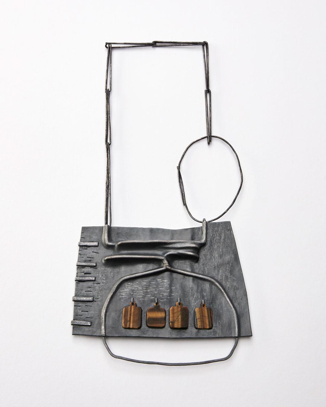 Iris Bodemer, Klang 3 (Sound 3), 2019, pendant; silver, thermoplastic, tiger's eye, 110 x 135 x 10 mm, €4250