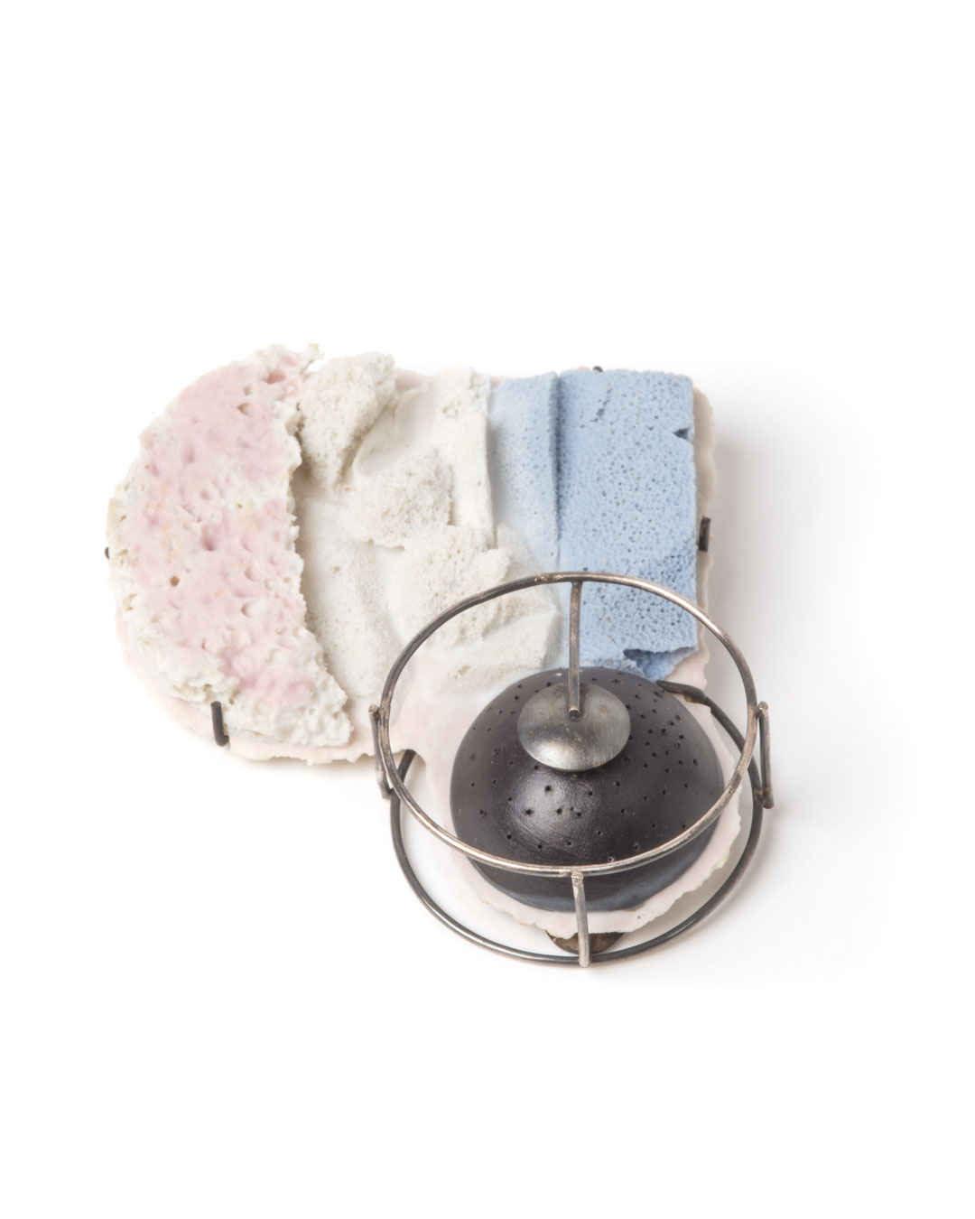 Trinidad Contreras, untitled, 2015, brooch; porcelain, oxidised silver, steel, 70 x 80 x 20 mm, €920