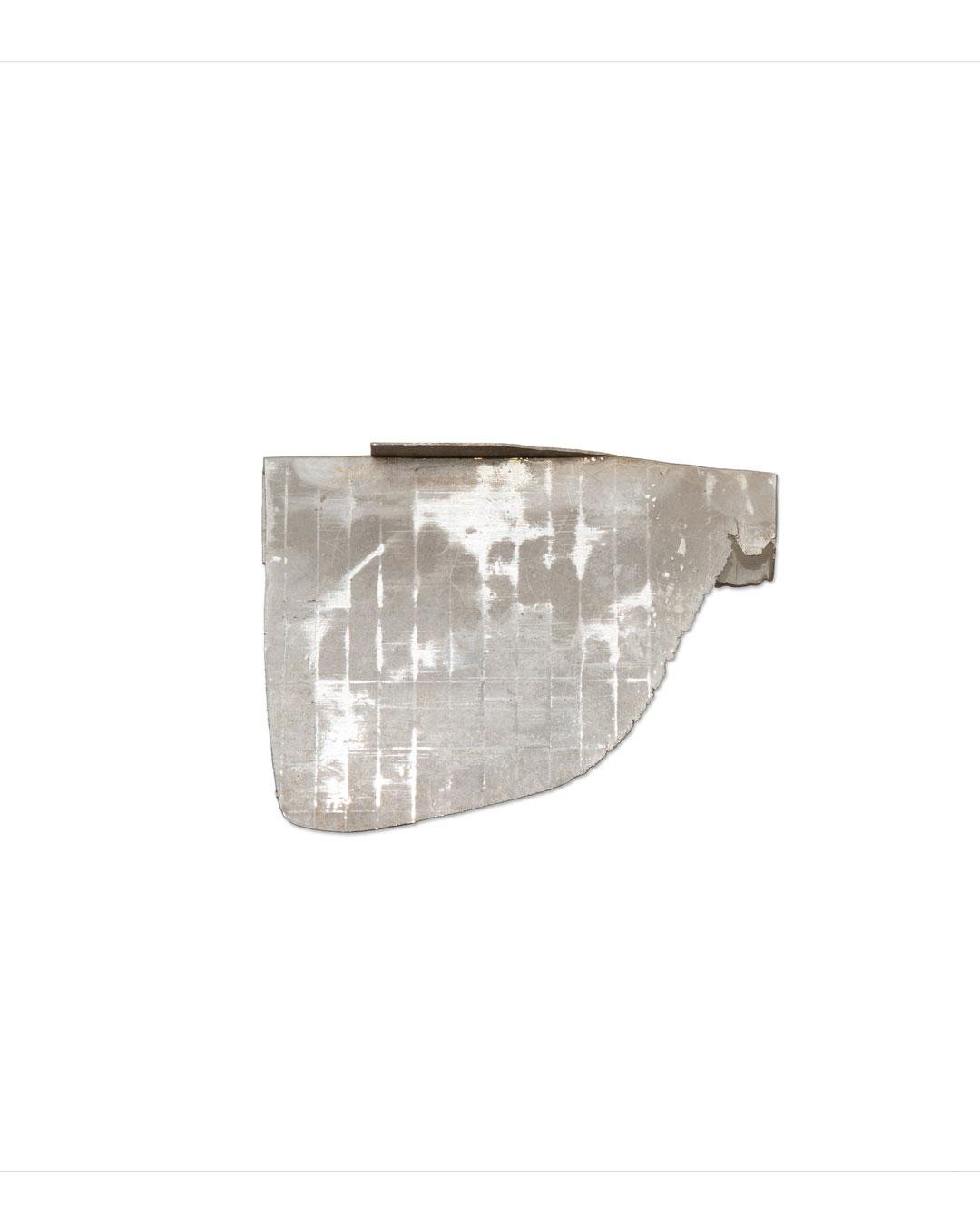 Noam Elyashiv, Edge, 2017, brooch; reclaimed silver, 18ct gold, 50 x 38 x 6 mm, €1350