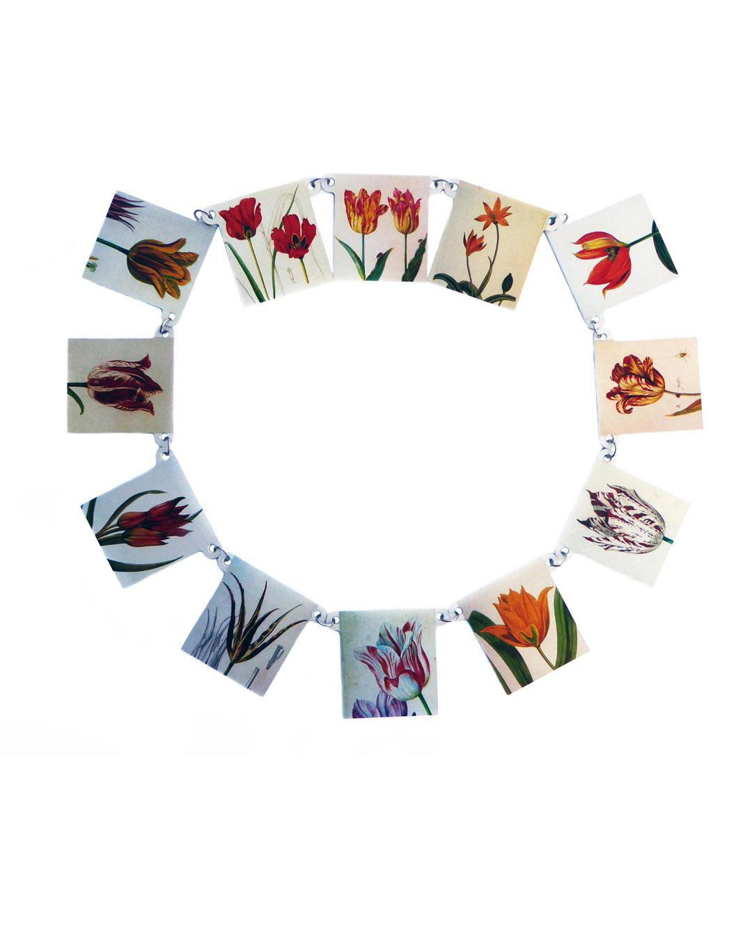 Herman Hermsen, Tulips from Amsterdam, 2019, necklace; print on aluminium, 278 x 5 mm, €850