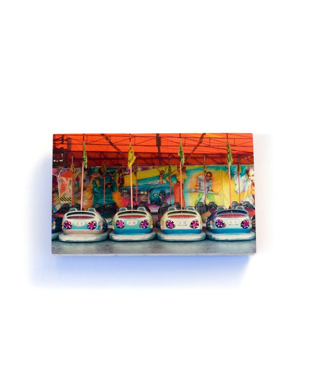 Herman Hermsen, Carnival Cars, 2015, brooch; print on aluminium, wood, zirconia, 49 x 78 x 12 mm, €300