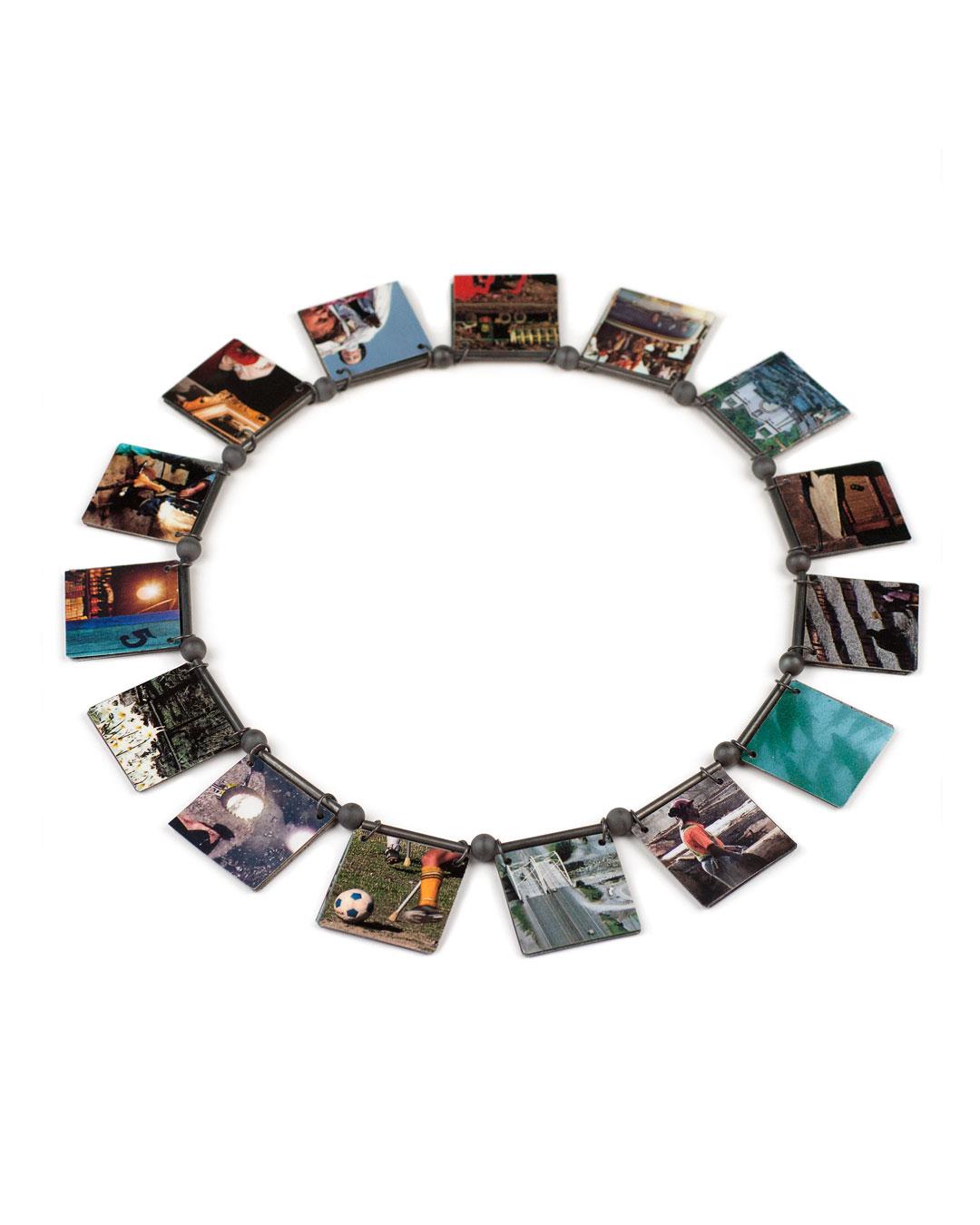 Herman Hermsen, untitled, 1997/2012, necklace; laminated photos, hematite, silver, 315 x 215 x 8 mm, €1250