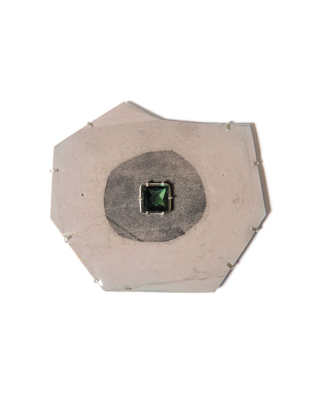 Margit Jäschke, untitled, 2013, brooch; Kapa foam board, epoxy, silver, synthetic stone, 112 x 98 x 12 mm, €1460