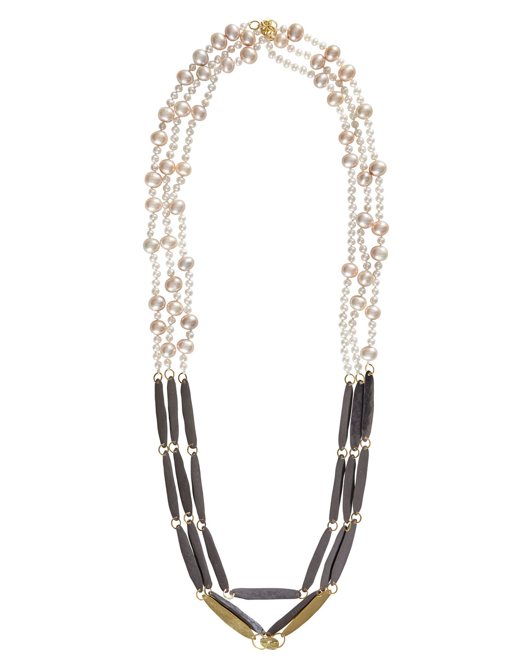Annelies Planteijdt,  Necklace with Egg no.23 and Lime, 2018, necklace; 18ct gold, tantalium, freshwater pearls, 150 x 350 mm, €7450 (image 1/2)