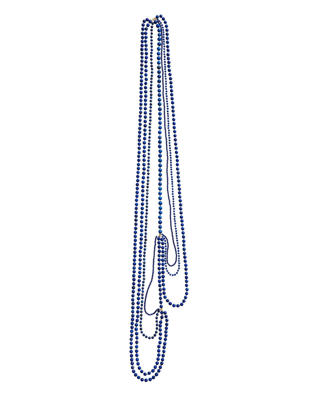 Annelies Planteijdt, Mooie stad - Blauwe water (Beautiful City - Blue Water), 2020, necklace; lapis lazuli, 18ct gold, yarn, 900 mm, sold