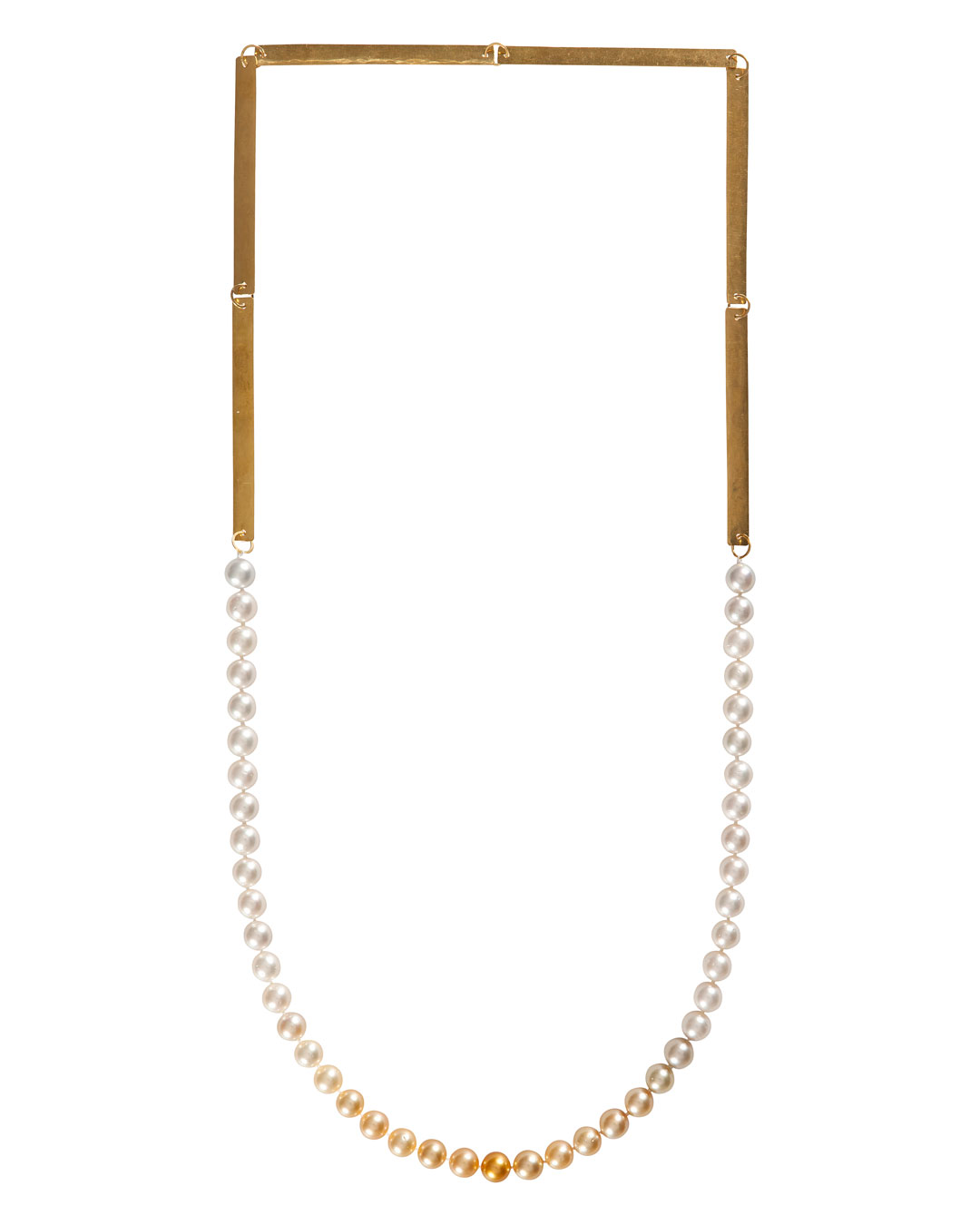 Annelies Planteijdt, Mooie stad – Collier en Chanel no.19 (Beautiful City - Necklace with Chanel no.19), 2017, necklace, gold, South Sea pearls, 150 x 360 mm, price on request (image 1/3)