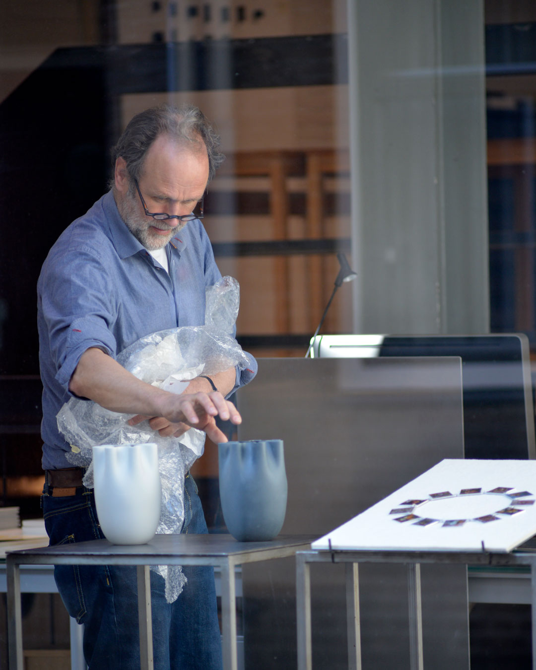 Herman Hermsen setting up his exhibition at Marzee in March 2019