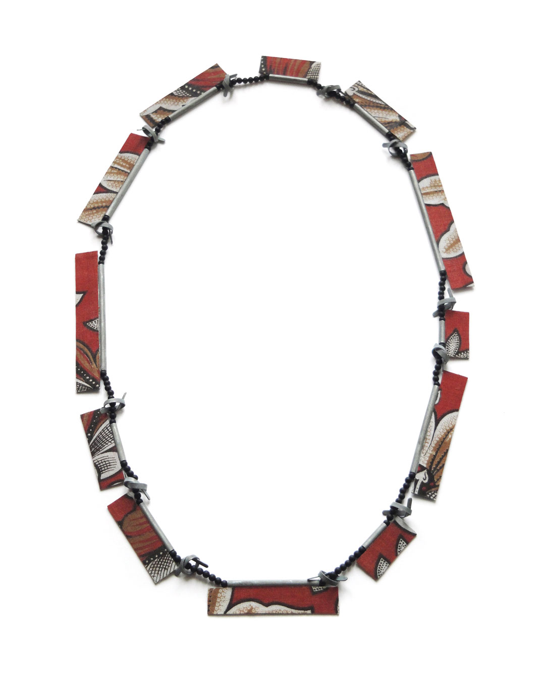 Lucy Sarneel, Two of a Kind, 2013, necklace; antique textile, onyx, acrylic paint, varnish, nylon thread, 320 x 180 x 6 mm, €1200