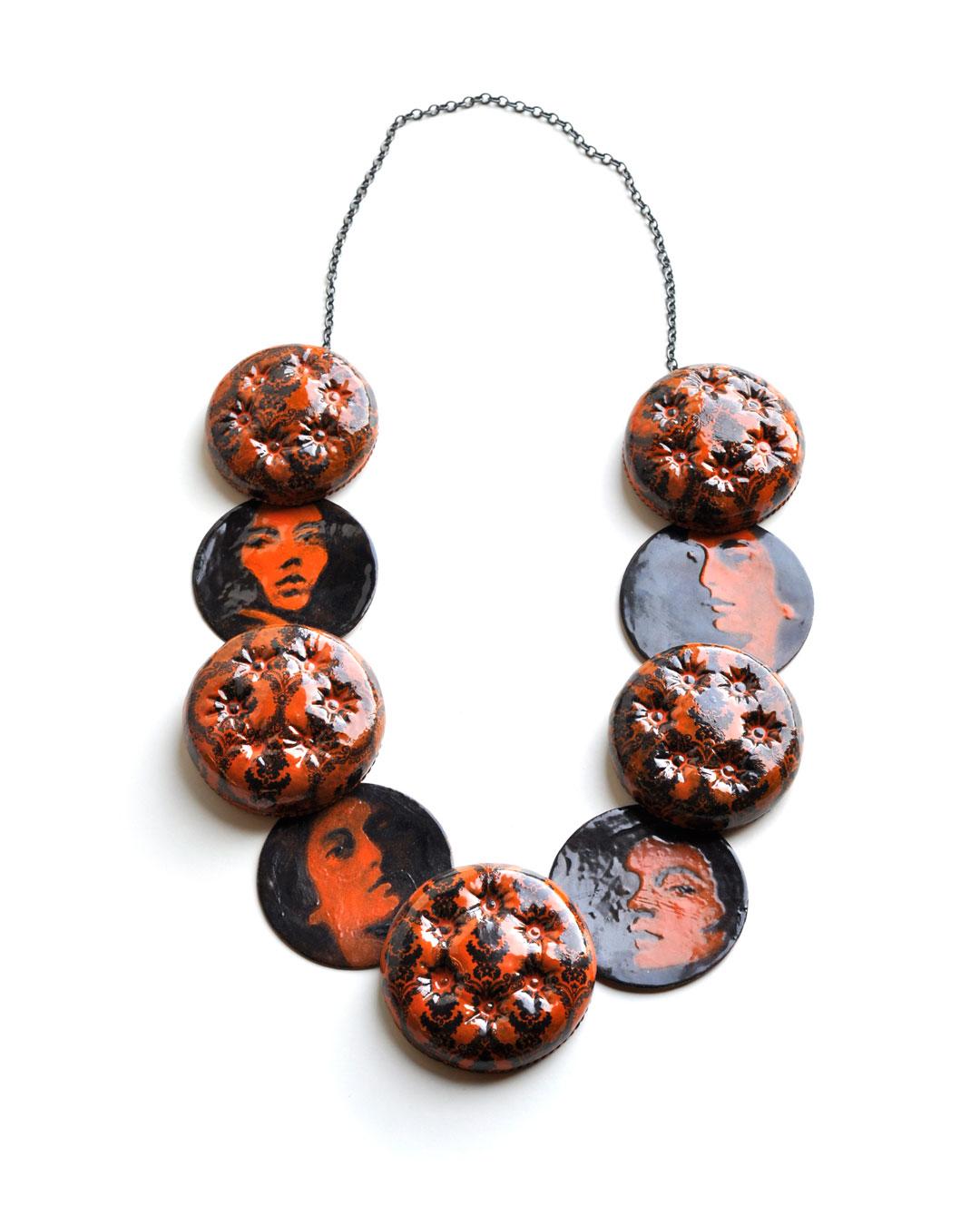 Vera Siemund, untitled, 2009, necklace; copper, silver, enamel, 170 x 320 x 20 mm, €3770