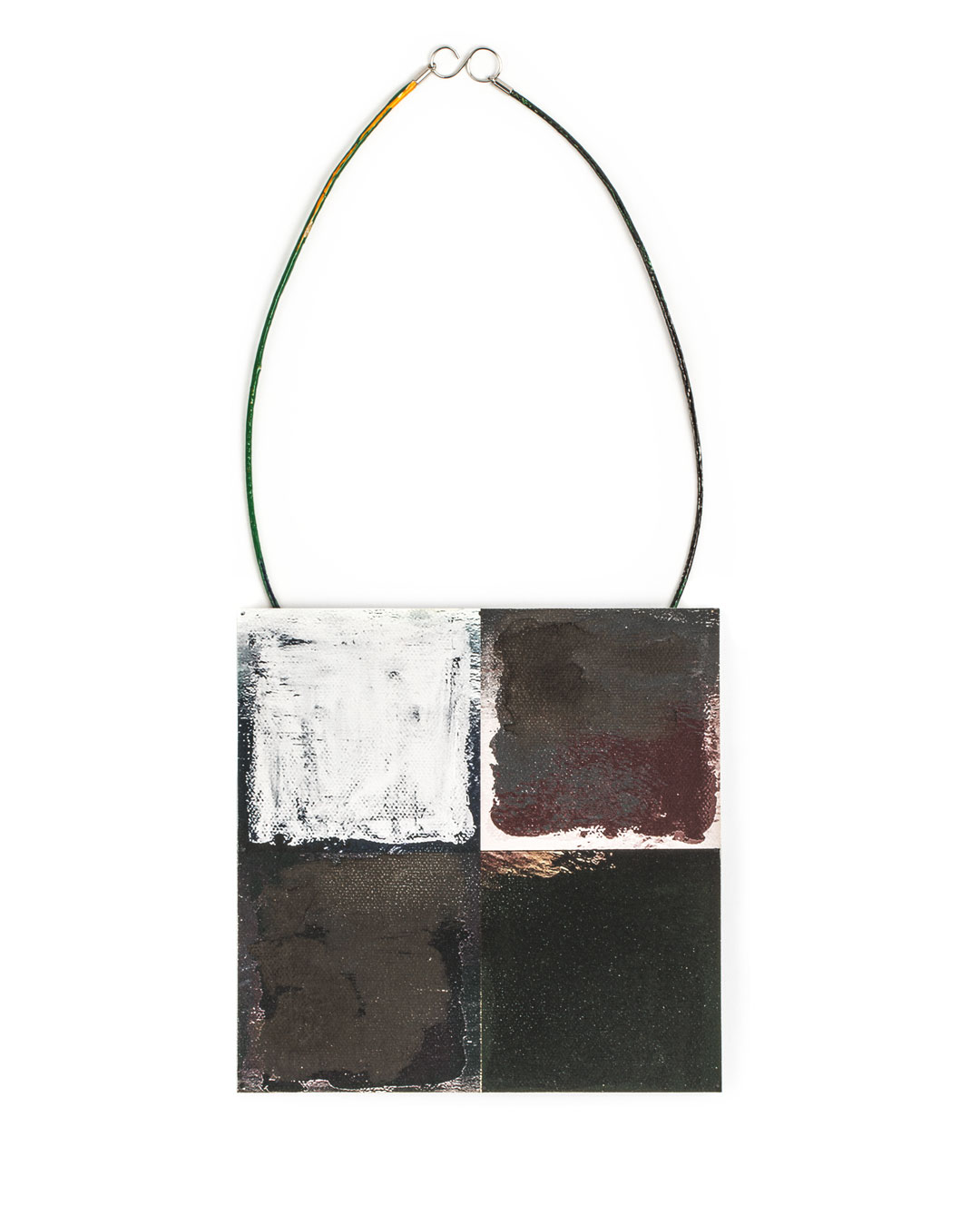 Robert Smit, untitled, 2019, necklace; canvas, ink, tinplate, cord, epoxy, silver, steel, 150 x 150 mm, €5800