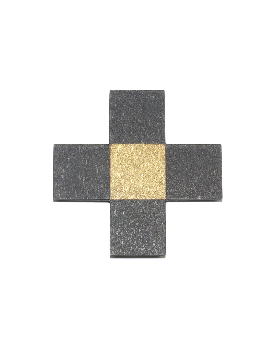 Tore Svensson, Cross , 2010, brooch; etched steel, partly gilt, 60 x 60 x 1.5 mm, €365
