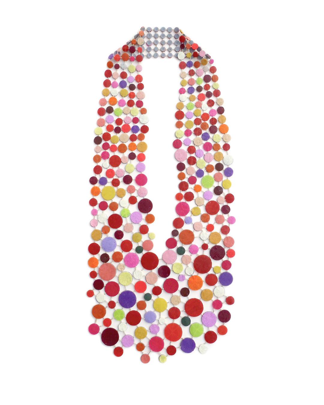 Karola Torkos, Untitled II, 2016, necklace; plastic, glitter, textile thread, 650 x 250 mm, €2200
