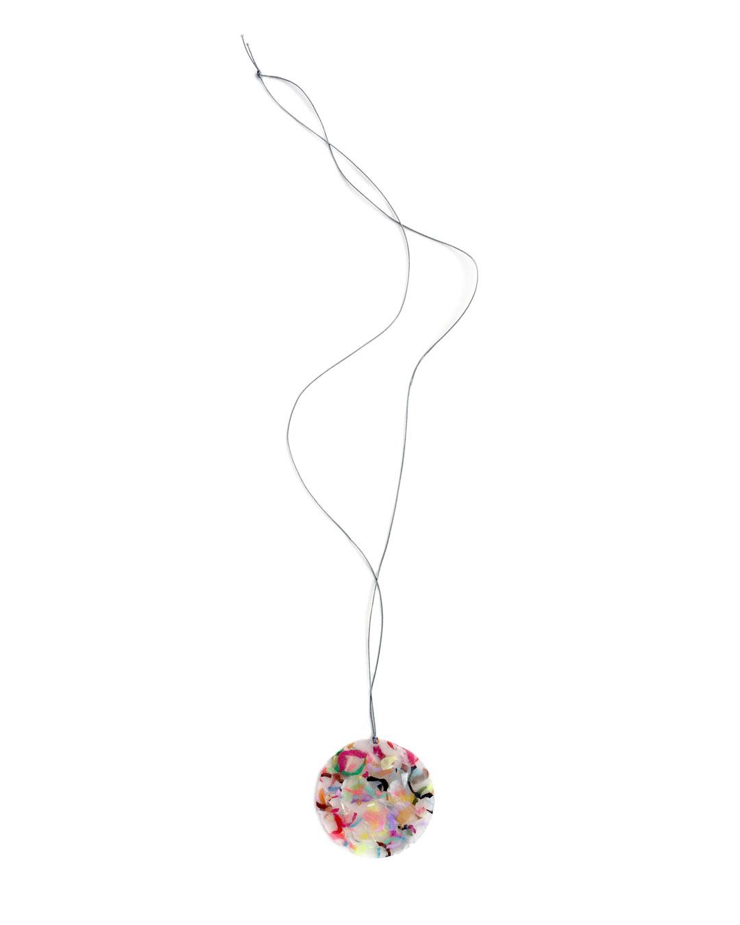 Karola Torkos, Shred, 2016, necklace; plastic, gold, Dyneema cord, ø 60 mm, €220
