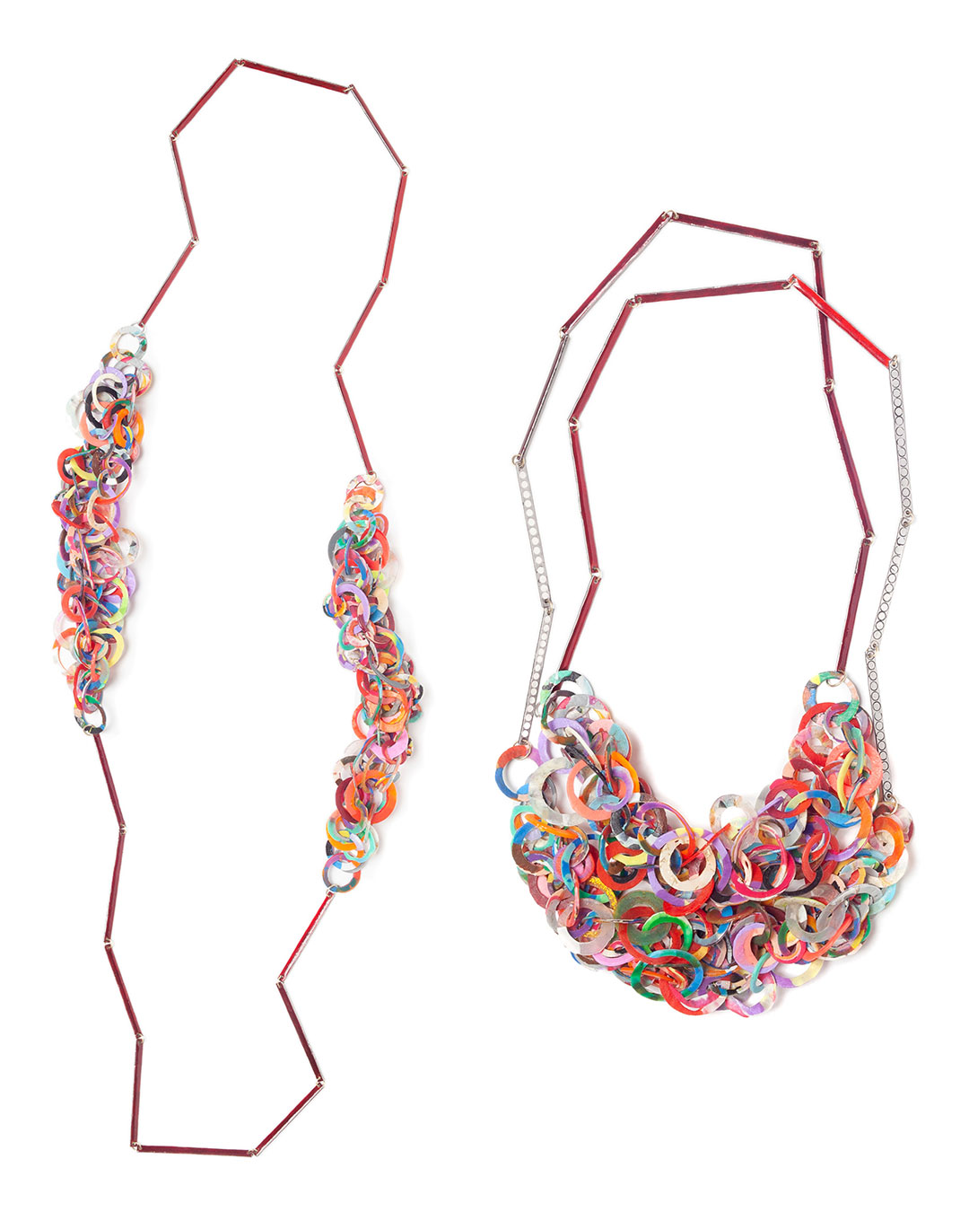 Karola Torkos, untitled, 2020, necklace; etched stainless steel, 14ct gold, Ceramit enamel, recycled plastic, L 1320 mm, €1550